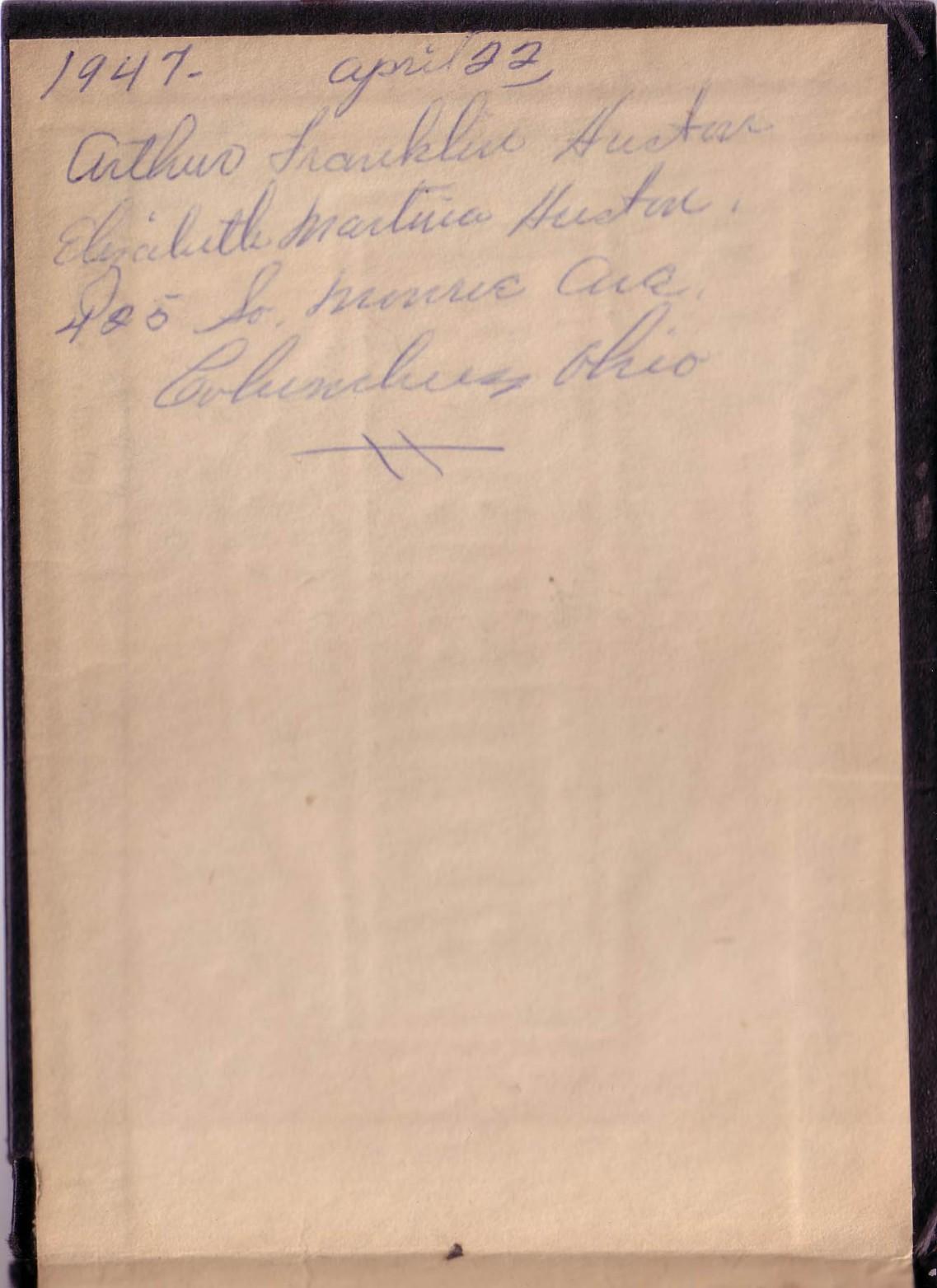 Arthur and Elizabeth Huston Vacation Album, ca. 1947 InsideCover