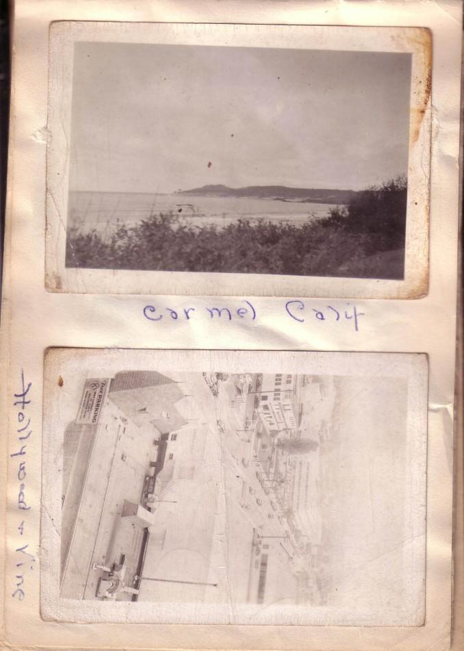 Arthur and Elizabeth Huston Vacation Album, ca. 1947 Page 10; Carmel Calif., Holllywood andVine