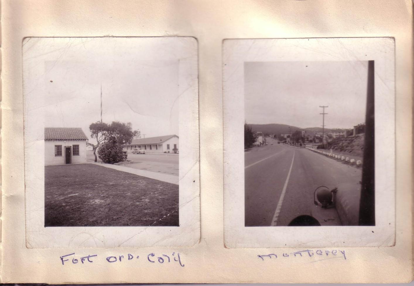 Arthur and Elizabeth Huston Vacation Album, ca. 1947 Page 5; Fort Ord Calif,Monterey