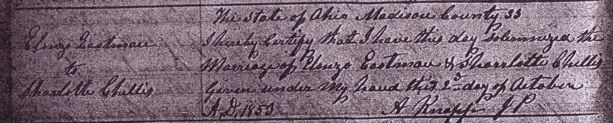 Alonzo Eastman and Charlotte Chellis marriage record,1853