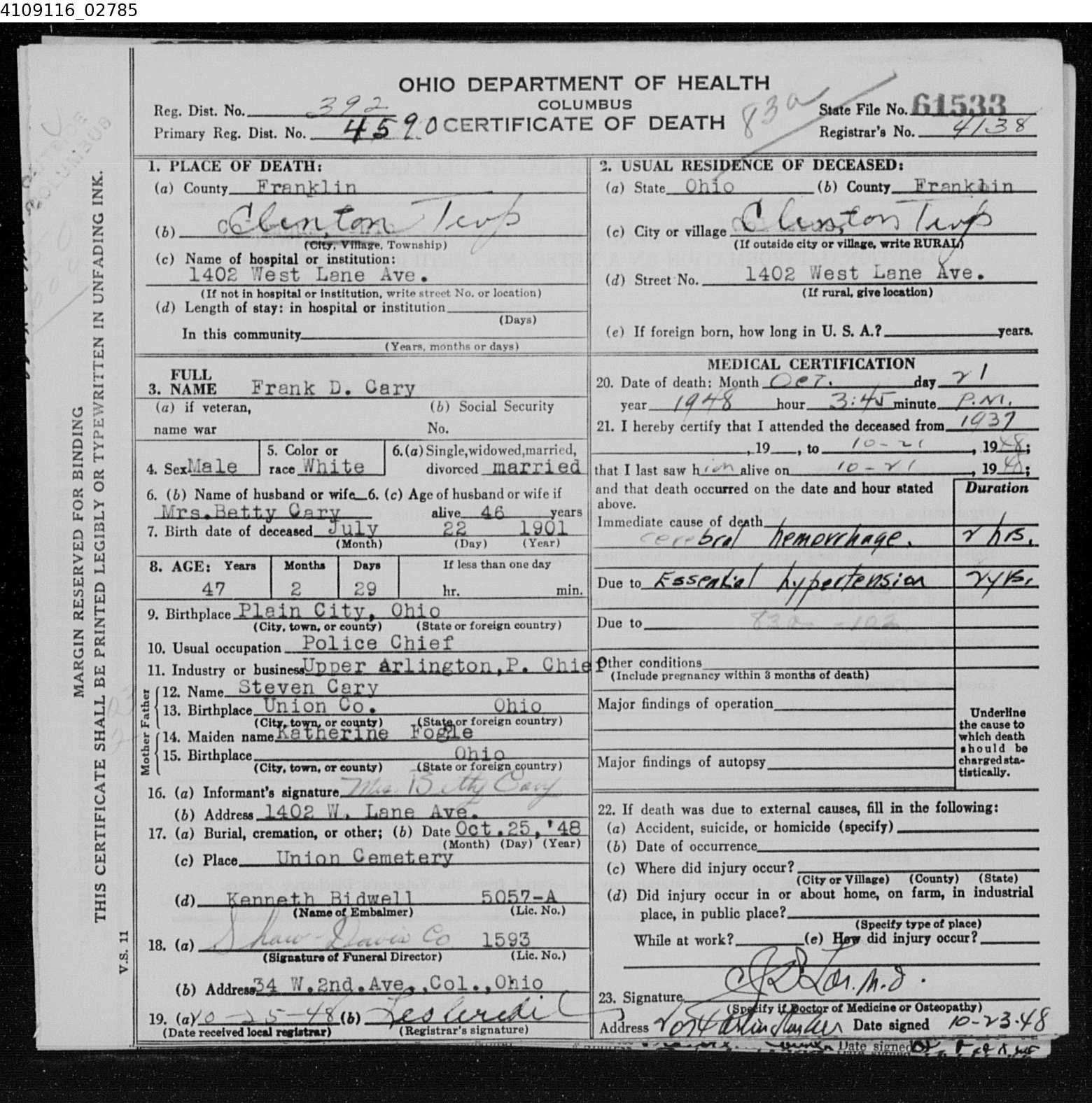 Frank Cary 1901 1948 Decicco Carey Family Tree